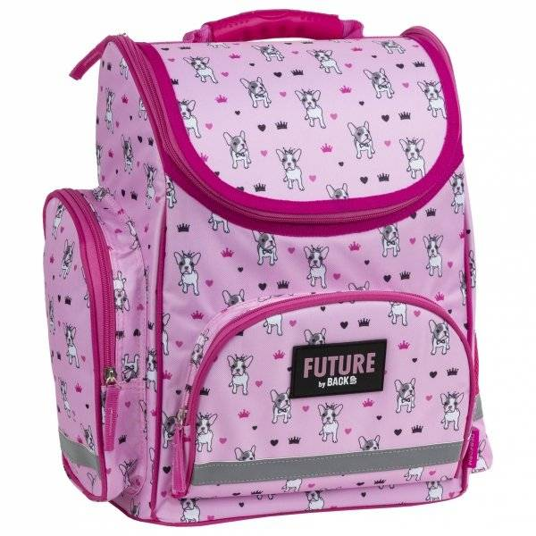 69b457b21f53 BackUp Kutyás ergonomikus iskolatáska merev falú Pink Buldog - Gigajáték
