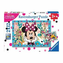 Minnie Mouse puzzle 2x12 db-os - Virágok Minnie-nek